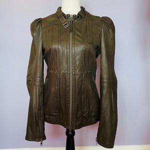 Mackage Brown puff sleeve Leather Jacket